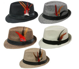 Wholesale Dyed Feathers Wholesale - New Summer Trilby Fedora Hats Straw with Feather for Mens Fashion Jazz Panama Beach hat 10pcs lot