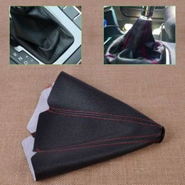 Wholesale Bmw Auto Manual - Car PVC Leather Manual Auto Shifter Shift Knob Boot Cover Black & Red Stitch FOR VW Audi Mercedes Benz Toyota BMW