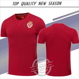 Wholesale Monaco Red - New season T-shirt 1718 Monaco polo T-shirts Top quality FALCAO MBAPPE LEMAR Monaco Polo jersey