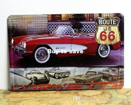Wholesale Wholesale Corvette - CORVETTE Roude US 66 metal poster Car style Tin poster car sign Home Club Bar wholesale 8x12 inch (20x30cm) 50pcs lot CA17