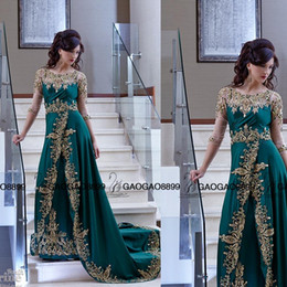 Wholesale Indian Chiffon Evening Gowns - 2017 Arabic Indian Style Formal Evening Dresses Crew Neckline Sheer Sequins Crystal Gold Lace Side Slit Dresses Party Evening Prom Gowns