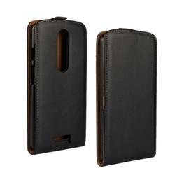 Argentina Caja negra al por mayor del tirón del cuero genuino de la alta calidad para la cubierta del teléfono de Motorola Moto X Force / Droid Turbo 2 con el cierre magnético Suministro