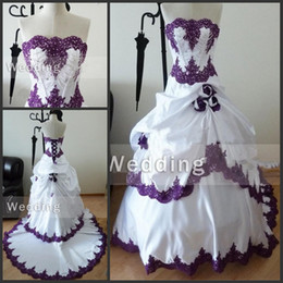 Wholesale Pink Gothic - Strapless Real Sample Lace Appliques Bridal Gowns with Beading Handmade Flowers Gothic Black and White Wear Purple and White Wedding Dresses