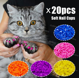 Wholesale Nail Caps Claws Cat - Silicone Soft Cat Nail Caps   Cat Paw Claw   Pet Nail Protector Cat Nail Cover with free Glue and Applictor G1123