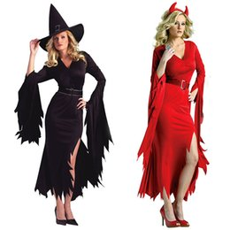 Wholesale halloween sexy womens costumes - Red Black Adult Womens Sexy Witch Dress Costume Fancy Dress Halloween