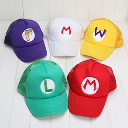 Wholesale Luigi Plush Hat - Wholesale-Super Mario Bros Hat Mario Costume Anime Cosplay Hat Cap Luigi 5 colors plush toys