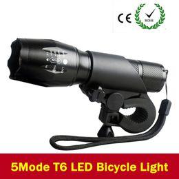 Wholesale Led Bike Front Light - New Bicycle Light 7 Watt 3800 Lumens 5 Mode CREE T6 LED Bike Light Front Torch Waterproof + Torch Holder