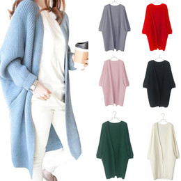 Wholesale Women Oversized Batwing Cardigan Sweaters - Long Cardigan Autumn Winter Women Sweater Ladies Solid Knitted Overcoat Casual Loose Poncho Female Oversized Sweater FS3068