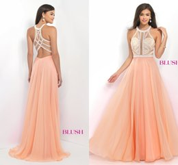 Wholesale Classic Orange Bridesmaid Dresses - Exquisite See Through Prom Dresses Beads Jewel Neck Off The Shoulder Bridesmaid Gowns Chiffon A-Line Wedding Guest Dresses 2016 Summer Style
