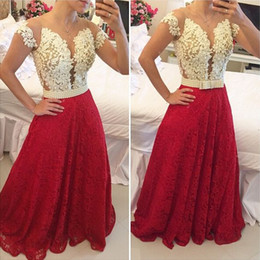royal blue decorations for party Promo Codes - New Coming Ivory And Red Lace Prom Dresses 2019 Cap Sleeves Pearls Decoration Evening Party Gowns For Women