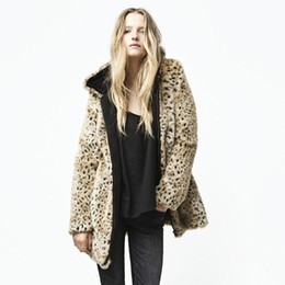 Wholesale sexy fur coats - Winter Autumn New Hot Sale Designer Women's Fashion Sexy Leopard Pattern Hooded Long Sleeve Cardigan Faux Fur Coat