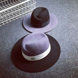Wholesale Vintage Trilby Hat - Wholesale-seasons men women letter M chapeu vintage design jazz trilby woolen cap Classic Fedora hat sale fedora hats for women