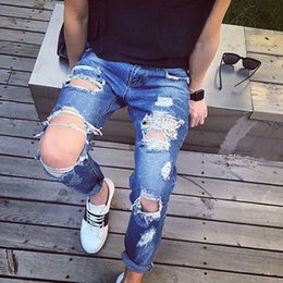Wholesale Hip Hop Skinny Harem Style - Wholesale-New Hip Hop Harem Hole Jeans Mens Personality Rock Style Jean Pants Skinny Fit Pants Distressed Jeans Ripped For Men