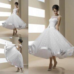 Wholesale Corset Dress Tea Length - Newest Vintage Lace Tea Length Short Wedding Dresses Sheer Neckline White Lace Corset Back Bridal Gowns