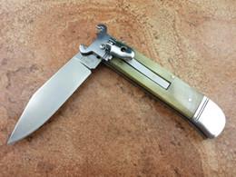Wholesale Damascus Knife Antler - AKC G.O.M 7.7 inch damascus pocket antler ox handle camping hunting knife knives copies 1pcs freeshipping