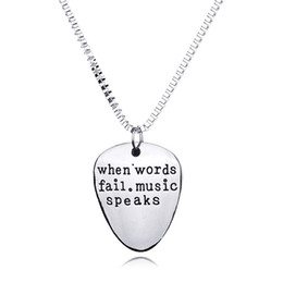 Wholesale drop ship music - When Words Fail Music Speaks Necklace Silver Letter Pendant Inspired Jewelry for Women Men Drop Shipping