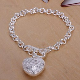 Wholesale Wholesale Women Fashion Gift Items - Factory Price Promotions! 2015 New Fashion Jewelry 925 Silver Charms Heart Bracelets For Women High Quality Item Bracelets Wholesalers CH062