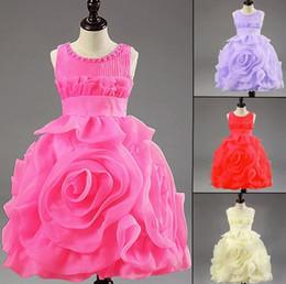 Wholesale Layered Lace Flower Girl Dress - Retail Hot! 3D Rose Flower girl dresses layered princess tutu Dresses.baby Christening dress Latest achieve noble girl dress Free shipping