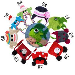 Wholesale Monkey Newborn - New cartoon monkey fish EarFlap Crochet Hat,10Color Baby Kids Wool Weaving Hat,Hand-woven Baby Hat,Knitting Wool Children Hat,Animal prints