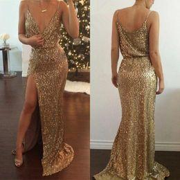Wholesale Spaghetti Strap Sparkle Party Dress - 2016 Bling bling Sparkle Gold Sequins Prom Dresses Mermaid Spaghetti Straps Floor Length Split Evening Party Bridesmaid Dresses BA2201
