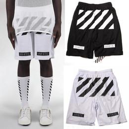 Wholesale Mens White Beach Pants - Wholesale-Fashion men women hip hop brand off white virgil abloh mesh shorts mens casual board beach shorts sport short pants boardshorts