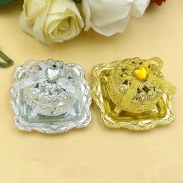 Wholesale Gold Treasure Chest - Wholesale- Gold-plated silver treasure chest candy box free shipping