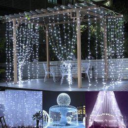 Wholesale Windows Led Lights - Christmas lights 3*3M LED Window Curtain Icicle Lights 300 LED 9.8ft 8 Modes String Fairy Light String Light for Christmas Halloween Wedding