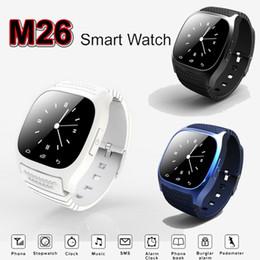 Цена смарт-часов онлайн-Заводская цена смарт часы М26 Bluetooth часы светодиодный дисплей спортивные наручные часы шагомер Snyc для Smartphone Андроида iOS У8