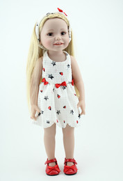 Wholesale Vinyl 12 Inch - Wholesale-18 inch Smiling full vinyl American girl doll standing sitting real baby doll handmade lifelike baby gift