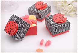 Wholesale moon candies - wedding Ladybug shape candy box,Baby full moon party cute candy box Delicate folding candy box