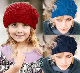 Wholesale Knitted Crocheted Flowers - 2015 handmade crochet wide headbands inch 24 colors hot womens Winter button adjustable Crochet Flower Knitted Headwraps Ear Warmer