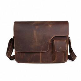 Wholesale Leather Laptop 17 - Wholesale-Crazy horse leather Vintage Men's Messenger Bag 100% Genuine leather Cross Body 17 inches Laptop Shoulder Bags Briefcase