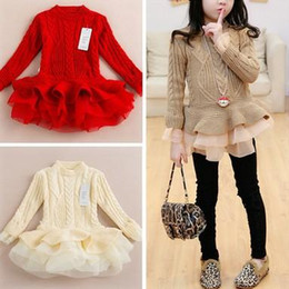 Wholesale Girl Lace Sweater - 2017 Popular Girls Sweater Tutu Dresses Children Winter Knitted Princess Dresses Baby Girls Lace Fashion Dresses 4 Colors