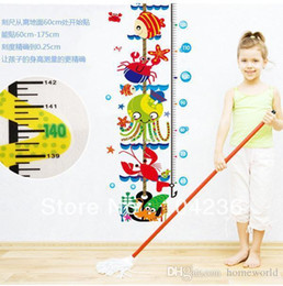 Wholesale Underwater Diy Decorations - Wholesale - - Promotions!! Free Shipping Underwater World Kids Growth Chart Height Measure For Home Kids Rooms DIY Decoration Wall Stickers