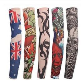 Wholesale Tattoo Sleeve Designs For Women - New Mutylti sle 100% polyester elastic Fake temporary tattoo sleeve designs body Arm stockings tattoo for cool men women IC895