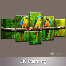 Wholesale Artworks Paintings - Canvas Painting 5 Piece Canvas Art Animal Painting of Parrots for Living Room Canvas Prints Artwork Wall Decor - Decor Picture