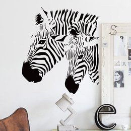 Wholesale Animal House Wallpaper - bedroom wallpapers cheap home decor vinyl beautiful zebra wall sticker waterproof PVC house decor animal horse decals for living room