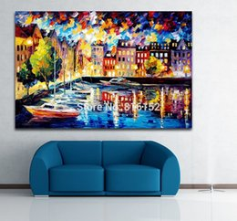 Wholesale Yacht Knife - Resting Yacht Moor in Harbor Palette Knife Oil Painting Seascape Picture Printed On Canvas Wall Art For Office Home Decor