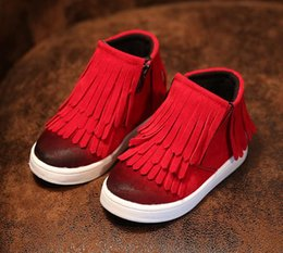 Wholesale Children Cowboy Boots - Kids Sneakers New Children Flat boots kdis fashion boot kids boy shoes size21-36 winter boots for boys girls Fringe shoes