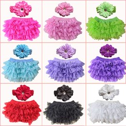 Wholesale Lace Headbands White - Toddler Girls Lace Ruffle Shorts Pant 0-24M Bloomers Nappy Cover Tutu Shorts Bottoms 9 colors Lace Baby Bloomer and Headband Set