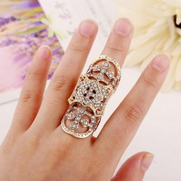 Wholesale Cute Cross Ring - New Exquisite Cute Retro CZ Diamond cross rings hollow carved rings Gold Silver Ring Finger Nail Rings jewelry wholesale- 0034WR