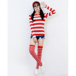 Wholesale Santa Claus Suits For Women - Cosplay Cartoon Super Elastic T shirt+Hat+Glasses+Stockings 4pcs Suit for Women Costume Party Stripes Mother Stage Clothes