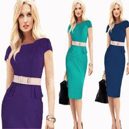 Wholesale Girls Business Wear - Fashion Women Working Dress Elegant Pencil Bodycon Dress Girls Slim Formal Dress for OL Work Suit with Belt Business Attire
