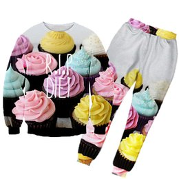 Wholesale Diet Clothes - 3D Hoodies new fashion men women 3d printed cake flowers suit Clothes casual rip diet hoodies and jogging pants hiphop suit set