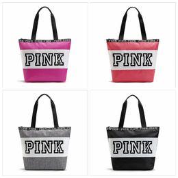Wholesale Multi Shoulder Bag - Pink Letter Handbag Large Capacity Shoulder Bag Waterproof Beach Bags For Travel Storage Handbags High Quality YYA779