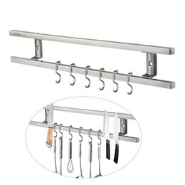 Wholesale Wall Mounted Kitchen Utensil Holders - 16 Inches Stainless Steel Block Wall-Mounted Magnetic Knife Holder Double Bar Knife Rack For Knives Utensils And Kitchen Sets