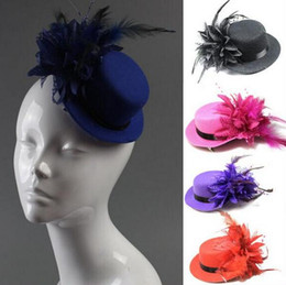 Wholesale Mini Hats Feathers - 20pcs mixed colors Lady's Mini Hat Hair Clip Feather Rose Top Cap Lace fascinator Costume Accessory The bride headdress Plumed Hat