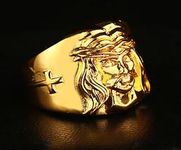 Wholesale Gold 24k Ring Men - High quality HIP HOP ring Men's Cross Jesus Ring 24K GP Yellow Gold Ring for Men Size 7, 8,9 10,11
