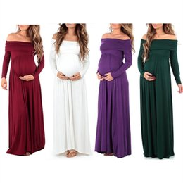Wholesale Pregnant Women Maxi - Wholesale 2018 new spring and autumn women solid color long-sleeved word collar lapel in the waist pregnant women drag high waist long skirt