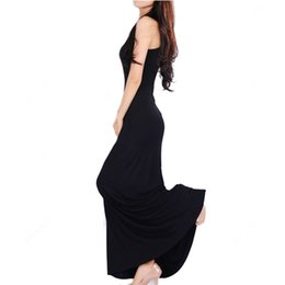 Wholesale Long Sun Dresses - S5Q Sexy Women Casual Plain Round Neck Solid Full Length Long Maxi Vest Sun Dresses AAACDX
